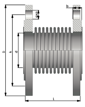 Expansion Joints with Fixed and Floating Flanges Technical Drawing