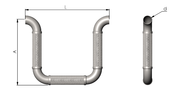 UW-Flex Omage Loop Seismic Connection Hose Dimensions